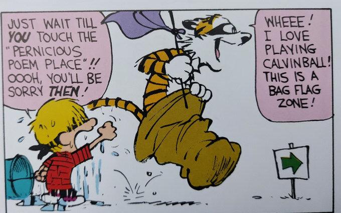 Calvin and Hobbes -ruutu (vuosi 1991), jossa Lassi ja Leevi pelaavat Lassipalloa