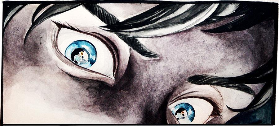 Nikitan intensiivinen katse, silmistä heijastuu sivuhenkilö