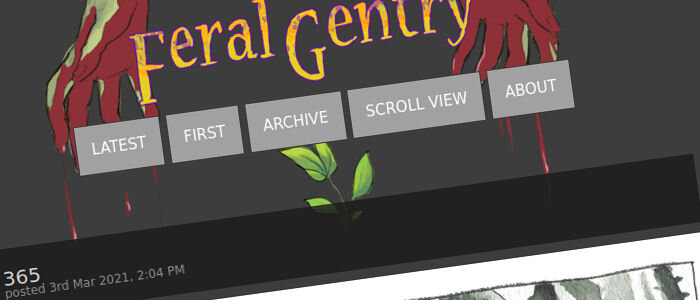 Kuvaruutukaappaus Feral Gentry -sarjan logosta ComicFury-palvelussa