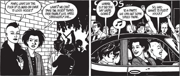 Taustalla poliisien ja punkkareiden yhteenotto luo kontrastin etualan rauhallisiin punkkareihin