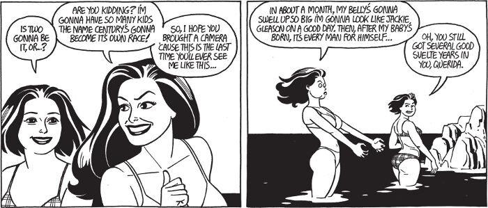 Maggie ja Penny bikineissä