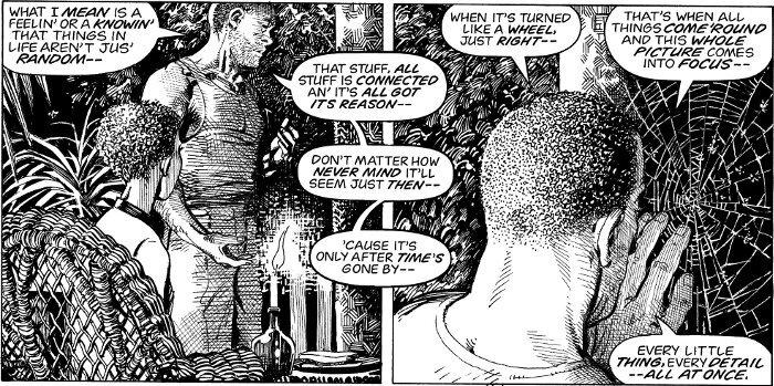 McFarland keskustelee kotinsa kuistilla vaimonsa kanssa