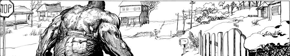 Päähenkilö hirviömuodossaan takaapäin kuvattuna etualalla, taustalla luminen maisema