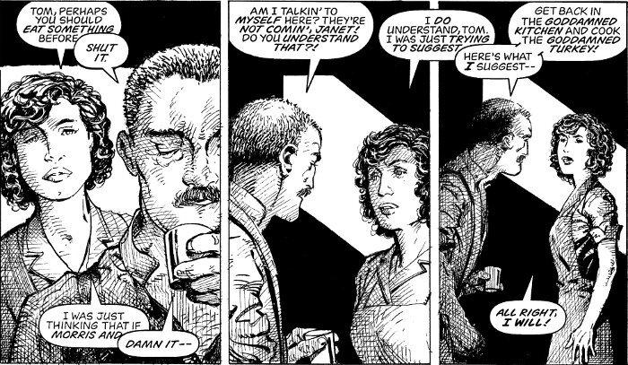 Tom ja Janet Bailey, mies on humalassa ja huutaa vaimolleen