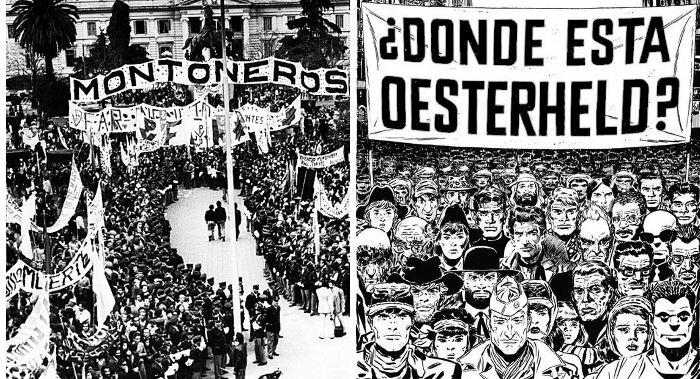 Kuvassa esitetään rinnakkain mieltään osoittava kansanjoukko ja sitä mukaileva juliste.