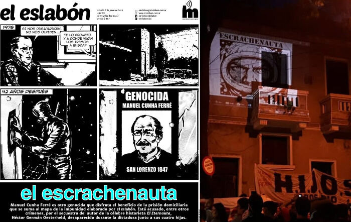 Argentiinassa tyypillinen mielenoituksen muoto, vasemmalla kutsu ja oikealla tapahtuma