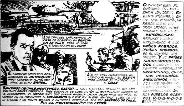 Sivunäyte montonerojen julkaisussa esitetystä Duradoñan kuvittamasta sarjasta